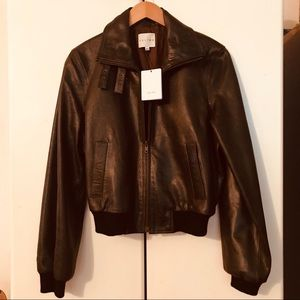 CELINE NEW W TAGS BROWN LEATHER BOMBER JACKET 10